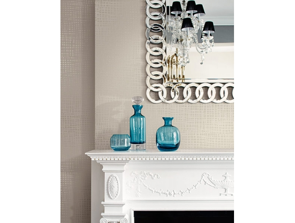 Woven Grass Faux Finish Wallpaper Room Setting