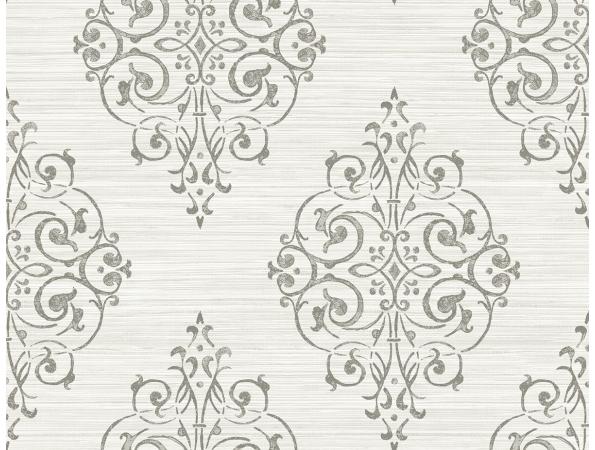 Medallion on Grass Weave Textured Wallpaper