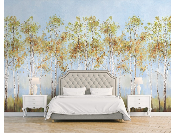 Birch Tree Daisy Bennett Mural - Note: Room Setting used multiple murals to get this look.