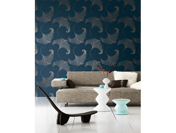 Ginko Leaf Fusion Wallpaper Room Setting