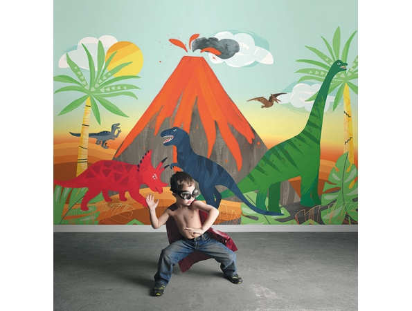 Blast from the Past Dinosaur Playdate Adventure Mural Room Setting