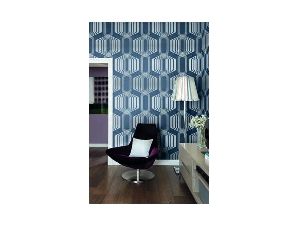 Hexagon Stripe Mod Geo Wallpaper Room Setting
