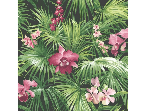 Tropical Palms & Orchids Global Fusion Wallpaper