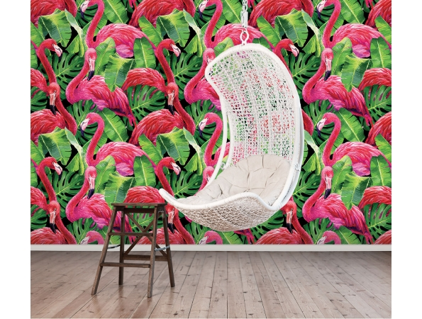 Flamingos in Tropical Leaves Global Fusion Repeating Wall Panel