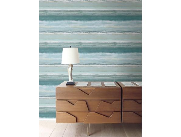 Watercolor Stripe Sumi Wallpaper Room Setting
