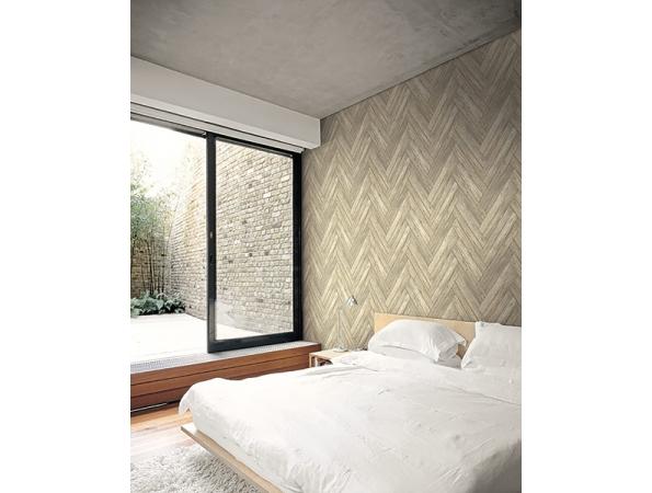 Stacked Chevron Wood Modern Foundation Wallpaper Room Setting