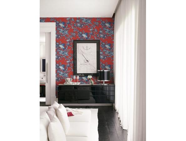 Crane Toile Sumi Wallpaper Room Setting