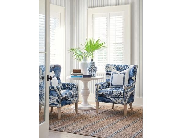Ticking Stripe Barclay Butera Wallpaper Room Setting