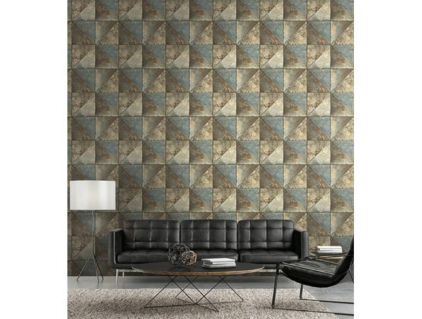 Metallic Diamonds Modern Foundation Wallpaper  Room Setting