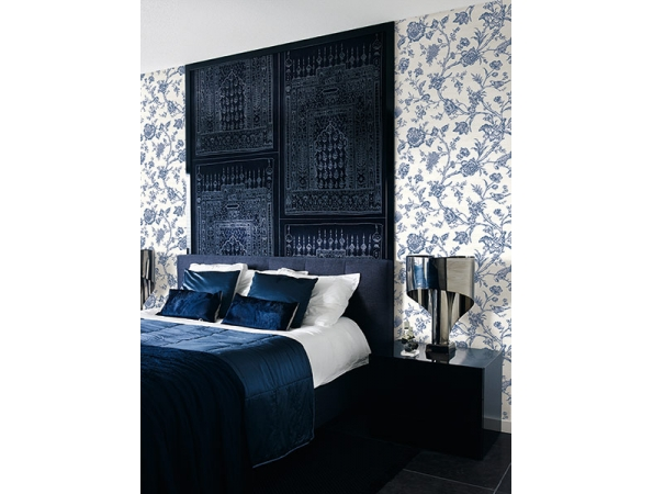Toile Trail Sumi Wallpaper Room Setting