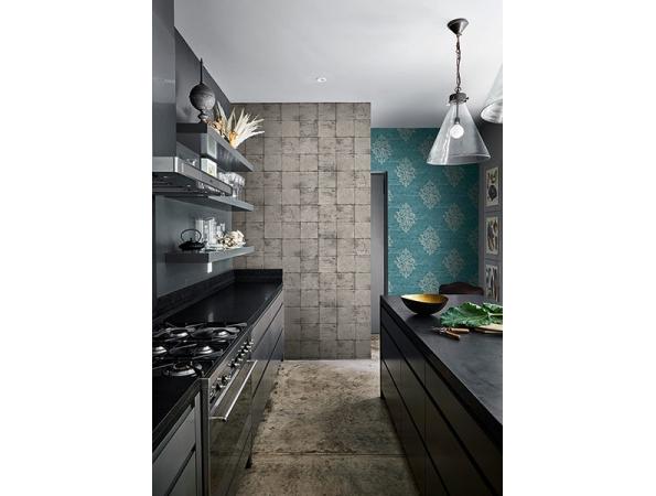 Metallic Blocks Sumi Wallpaper Room Setting
