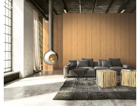 All-Over Woodgrain Modern Foundation Wallpaper Room Setting
