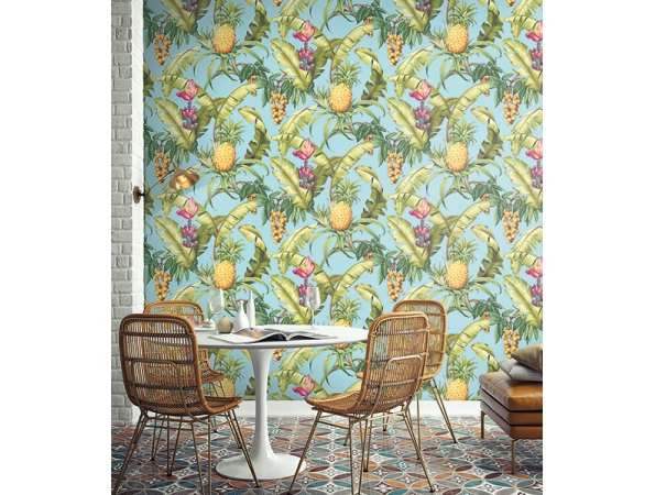 Pineapple Floral Maui Maui Wallpaper Room Setting