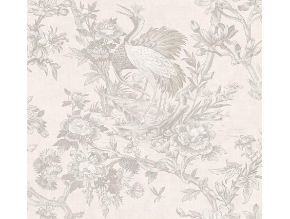 Crane Toile Sumi Wallpaper