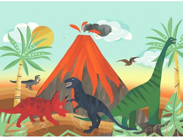 Blast from the Past Dinosaur Playdate Adventure Mural