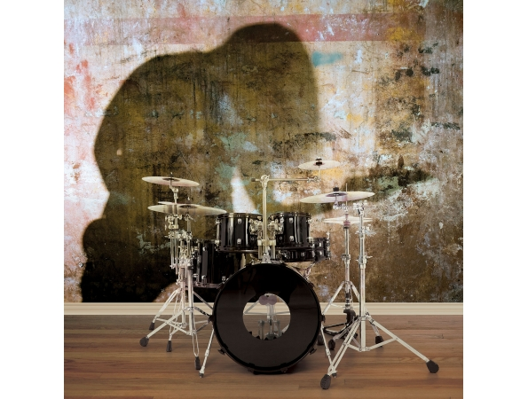 Silhouette Guitarist Grunge Mural Room Setting