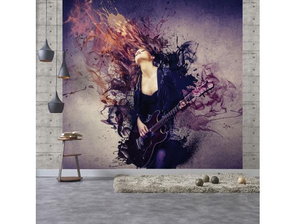 Guitar Girl Purple Grunge Mural Room Setting