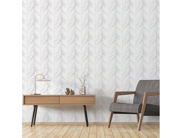 Chevron Wood Organic Textures Wallpaper Room Setting