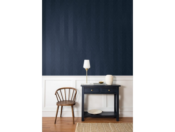 Chevron Grasscloth Paper & Ink Wallpaper (NGW) Room Setting