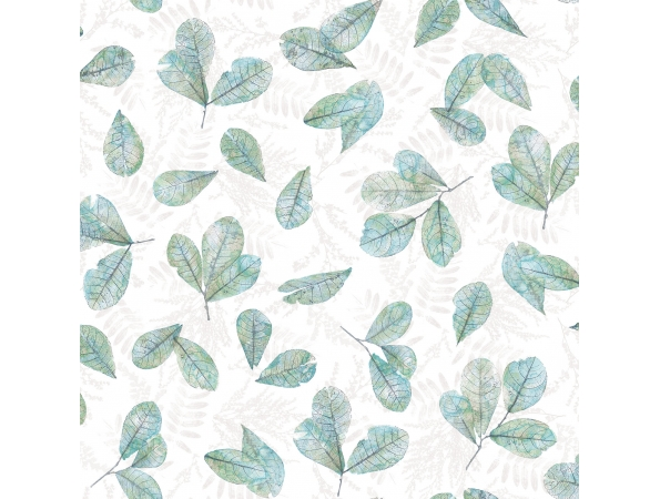 Veining Leaf Toss Evergreen Wallpaper