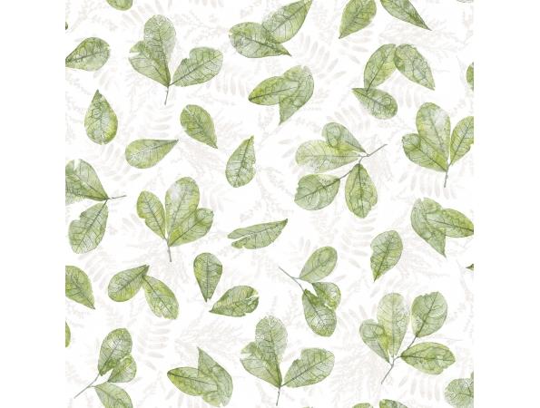 Fossil Leaf Toss Evergreen Wallpaper