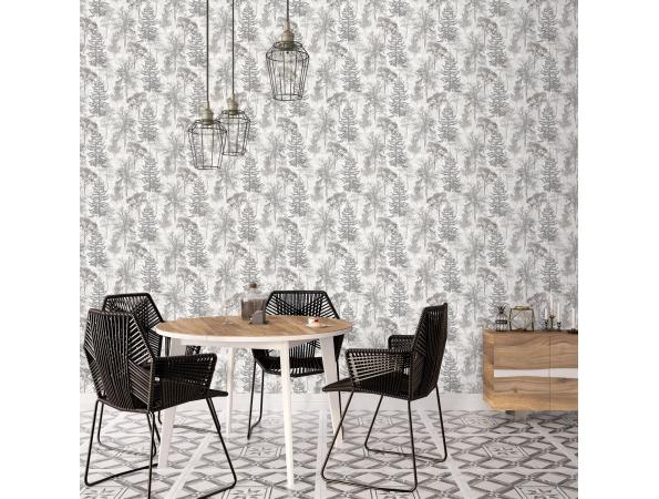 Trees Evergreen Wallpaper Room Setting