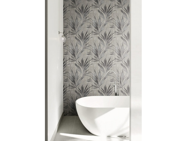 Palm Leaf Stripe Maya Wallpaper Room Setting
