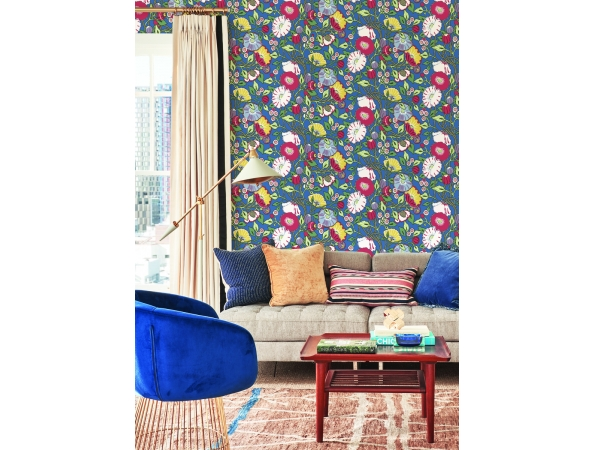 Vincent Poppies Conservatory Wallpaper Room Setting