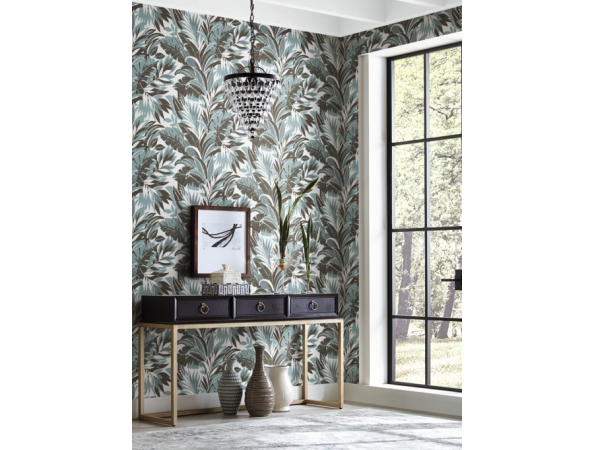 Palm Silhouette Conservatory Wallpaper Room Setting