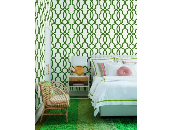 Hourglass Trellis Geometric Resource Library Wallpaper Room Setting